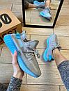 Женские кроссовки Adidas Yeezy Boost 350 V2 Grey & Blue, фото 3