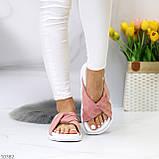Шлепанцы женские розовые / темная пудра натуральная замша, фото 3