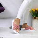 Шлепанцы женские розовые / темная пудра натуральная замша, фото 2