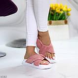 Шлепанцы женские розовые / темная пудра натуральная замша, фото 4