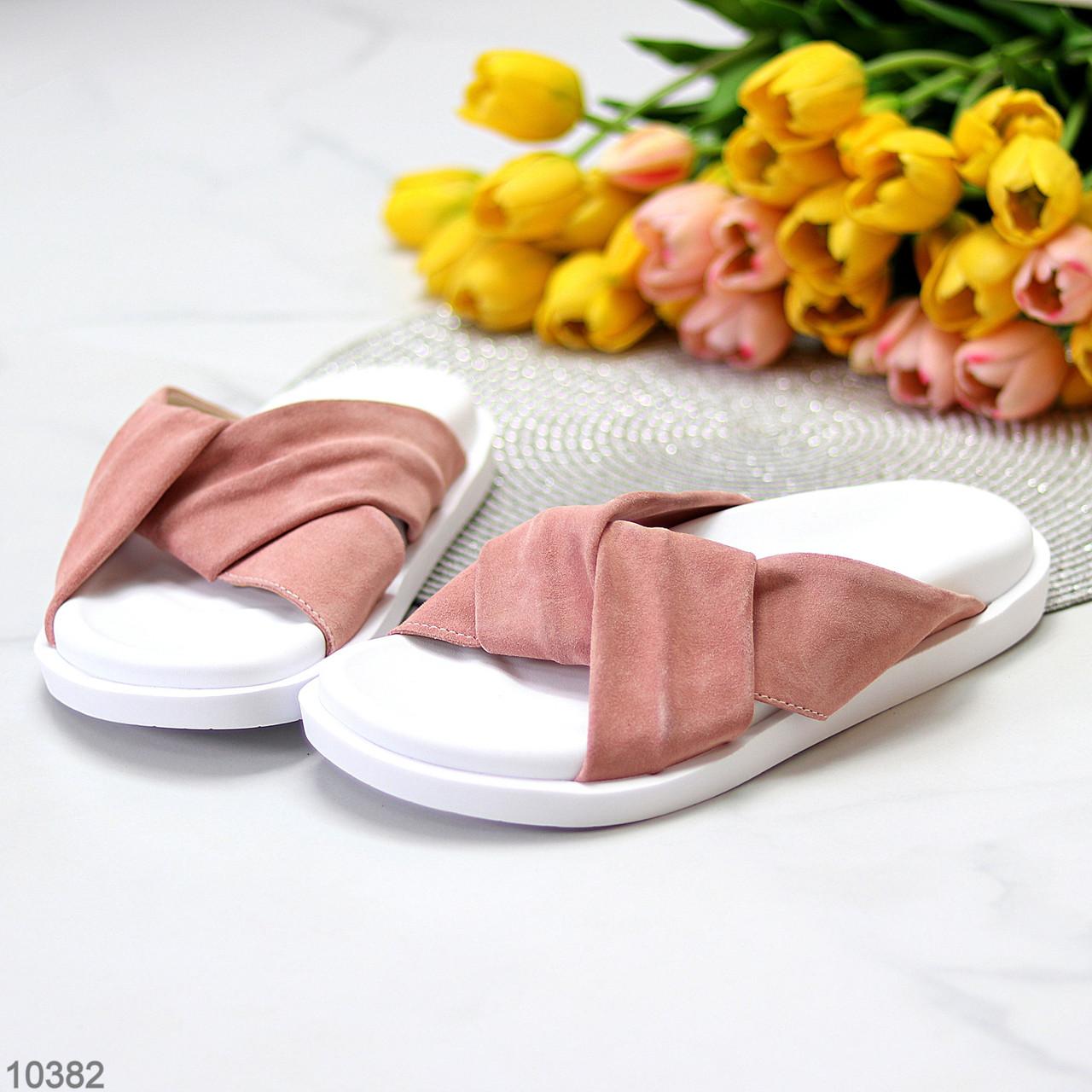 Шлепанцы женские розовые / темная пудра натуральная замша