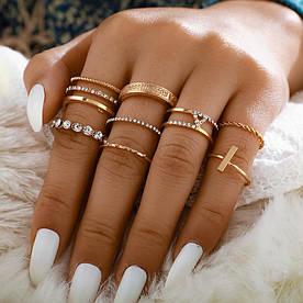 Набор женских золотистых колец код 2075