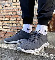 Стильные молодежные мужские кроссовки из текстиля серые на низкой подошве
