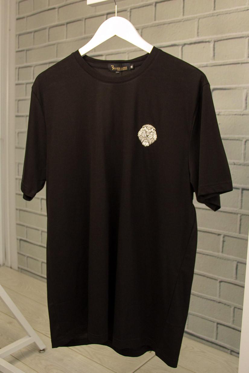 Футболка мужская Billionaire Черная Хлопковая с вышивкой Футболка и майки мужские Бренд Люкс качество 56