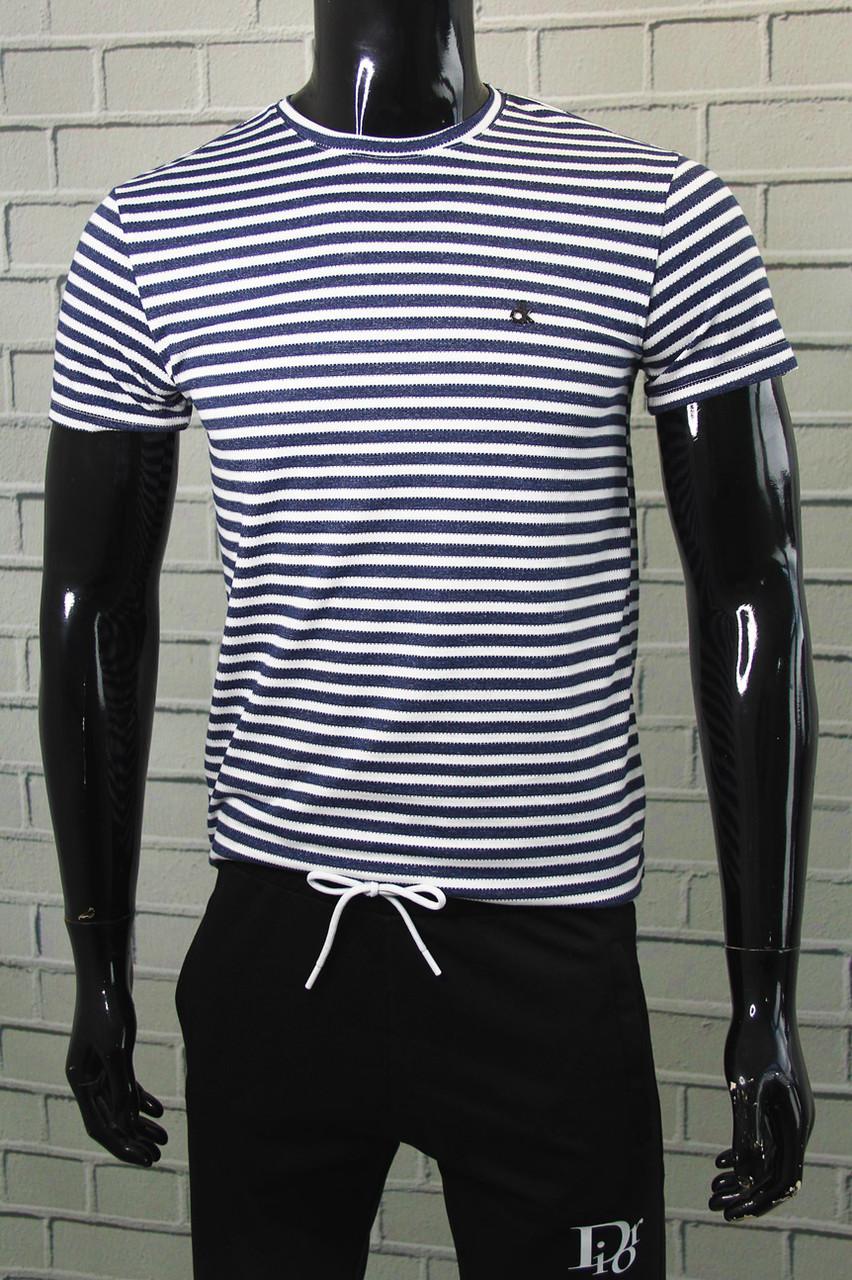 Футболка чоловіча Calvin Klein Темно-синій Приталені Бавовняна модель на кожен день Футболки та майки чоловічі