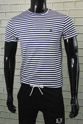 Футболка чоловіча Calvin Klein Темно-синій Приталені Бавовняна модель на кожен день Футболки та майки чоловічі, фото 2