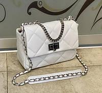 Женская сумка из натуральной кожи модная белая  Италия made in Italy через плечо , сумка кроссбоди, фото 1