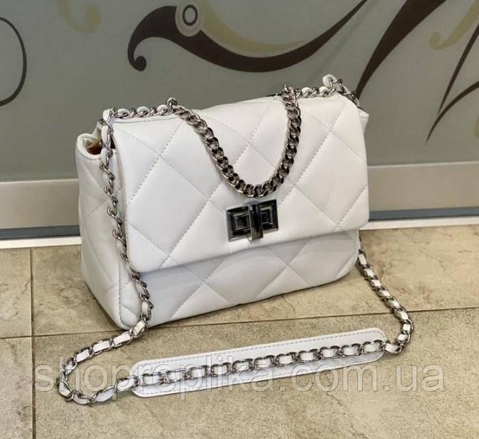 Женская сумка из натуральной кожи модная белая  Италия made in Italy через плечо , сумка кроссбоди