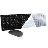 Беспроводная компьютерная клавиатура и мышь блютуз K-06 защитным покрытием Черная, фото 2