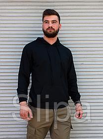 Чёрный лёгкий мужской льняной худи | 100% лён | летний худи