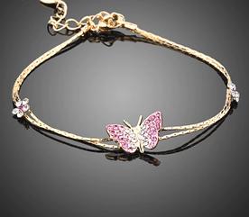 Позолочений браслет жіночий з кристалами Метелик код 1236