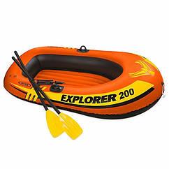 Двухместная надувная лодка Intex 58331 (185 x 94 x 41 см) Explorer 200 Set + Пластиковые весла и мини ручной
