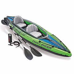 Двомісна надувна байдарка Intex 68306 (351 x 76 x 38 см) Challenger K2 + Алюмінієві весла і ручний насос