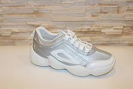 Кросівки жіночі сріблясті з білими вставками код Т274 38