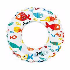 Дитячий надувний круг Intex 59241 (Рибки) Lively Print Swim Rings (61 см)
