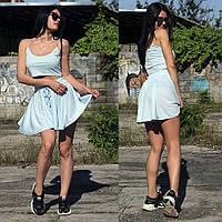 Женский летний костюм топ на тонких бретелях и шорты-юбка