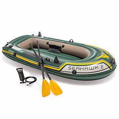Двухместная надувная лодка Intex 68347 (236x114x41 см) Seahawk 2 Set + Пластиковые весла и ручной насос
