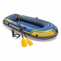 Двомісна Intex надувний човен 68367 (236 х 114 х 41 см) Challenger 2 Set + Пластикові весла і ручний насос