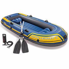 Тримісна Intex надувний човен 68370 (295 х 137 х 43 см) Challenger 3 Set + Алюмінієві весла і ручний насос