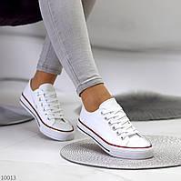Комфортные классические белые текстильные тканевые женские кеды (обувь женская)