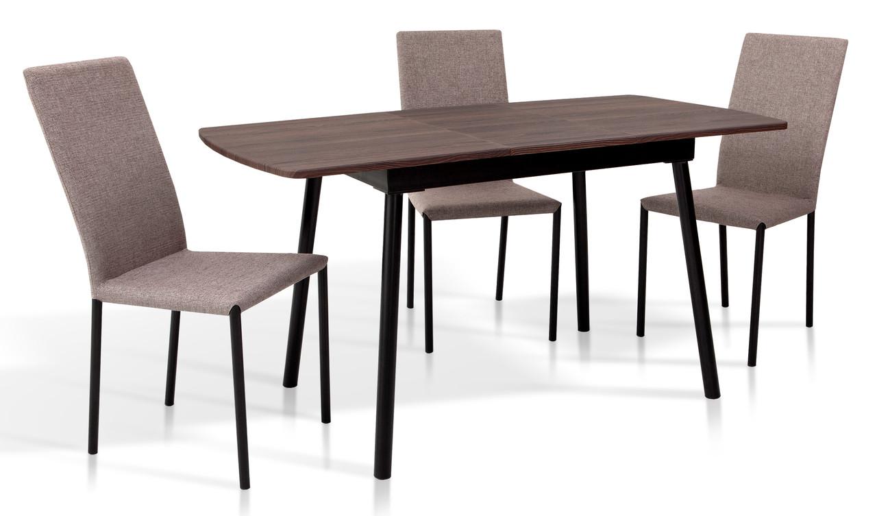 Стіл обідній розкладний в стилі модерн Соло 110 Мікс меблі, колір горіх + чорний