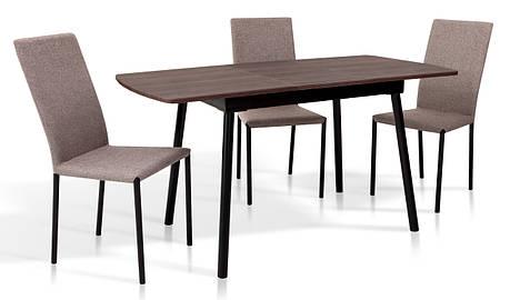 Стіл обідній розкладний в стилі модерн Соло 110 Мікс меблі, колір горіх + чорний, фото 2