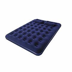 Двуспальный надувной матрас Bestway 67374 (152 х 203 x 22 см) + Ручной насос и 2 подушки