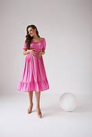 Літня святкова сукня для вагітних рожева