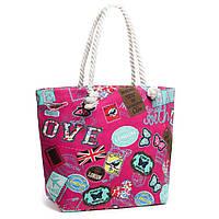 Женская текстильная сумка мешок розовая
