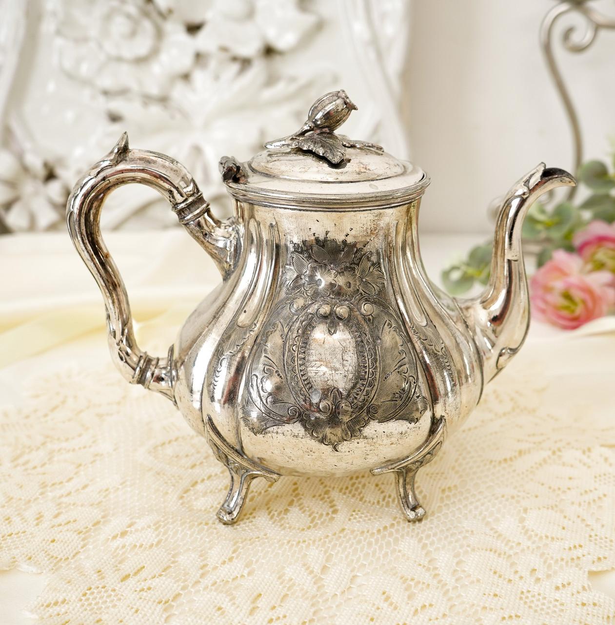 Посеребренный английский заварочный чайник, серебрение, мельхиор, GRAYSON & SON, Англия