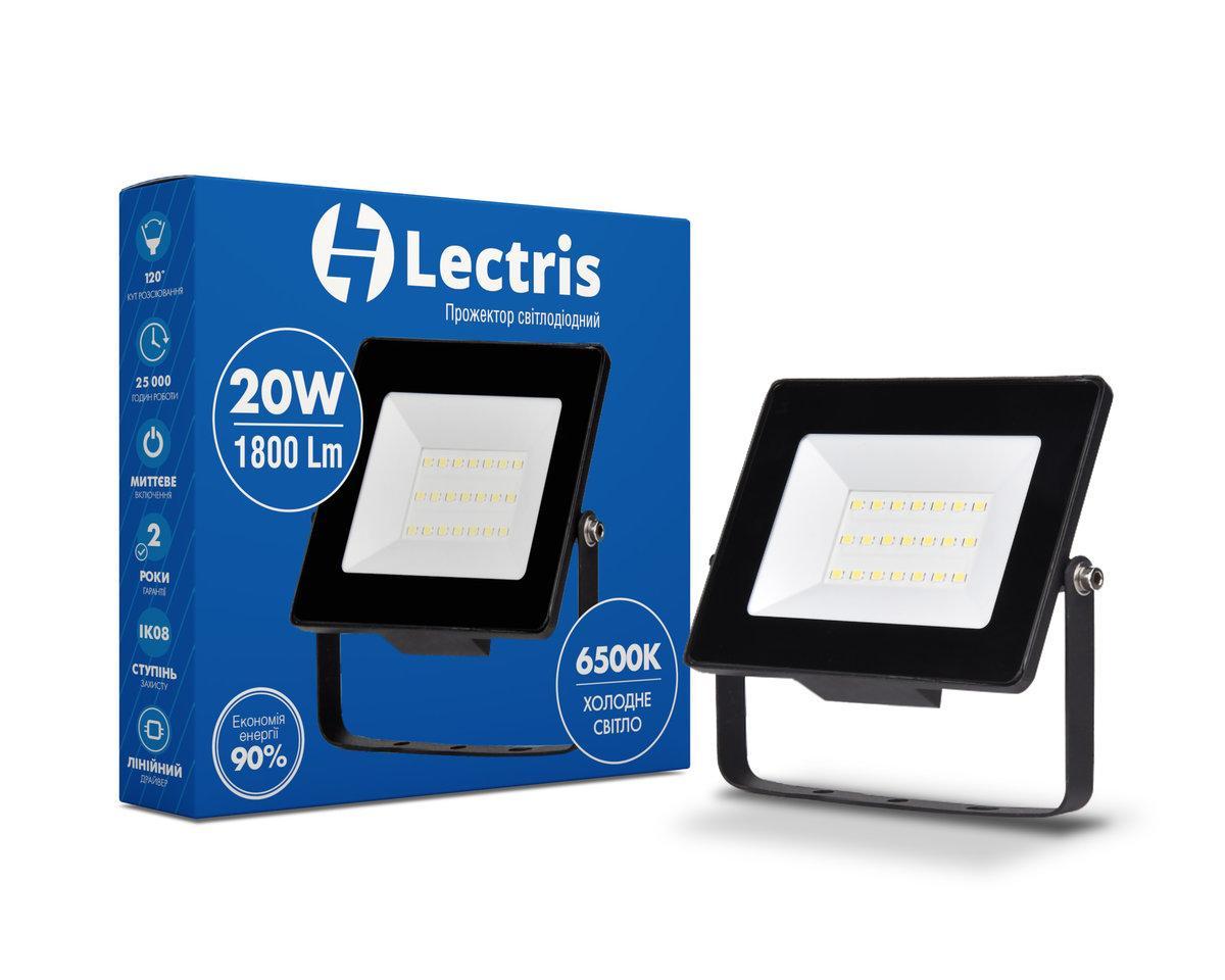 Светодиодный прожектор Lectris 20W 1800Лм 6500K 185-265V IP65 1-LC-3002