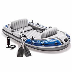 Четырехместная надувная лодка Intex 68324 (315x165x43 см) Excursion 4 Set + Алюминиевые весла и ручной насос