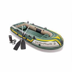 Тримісна Intex надувний човен 68380 (295х137х43 см) Seahawk 3 Set + Алюмінієві весла і ручний насос