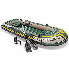 Чотиримісна Intex надувний човен 68351 (351х145х48 см) Seahawk 4 Set + Алюмінієві весла і ручний насос