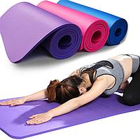 Коврик для фитнеса и йоги 1800Х610Х10мм фиолетовый нескользящий каремат спортивный
