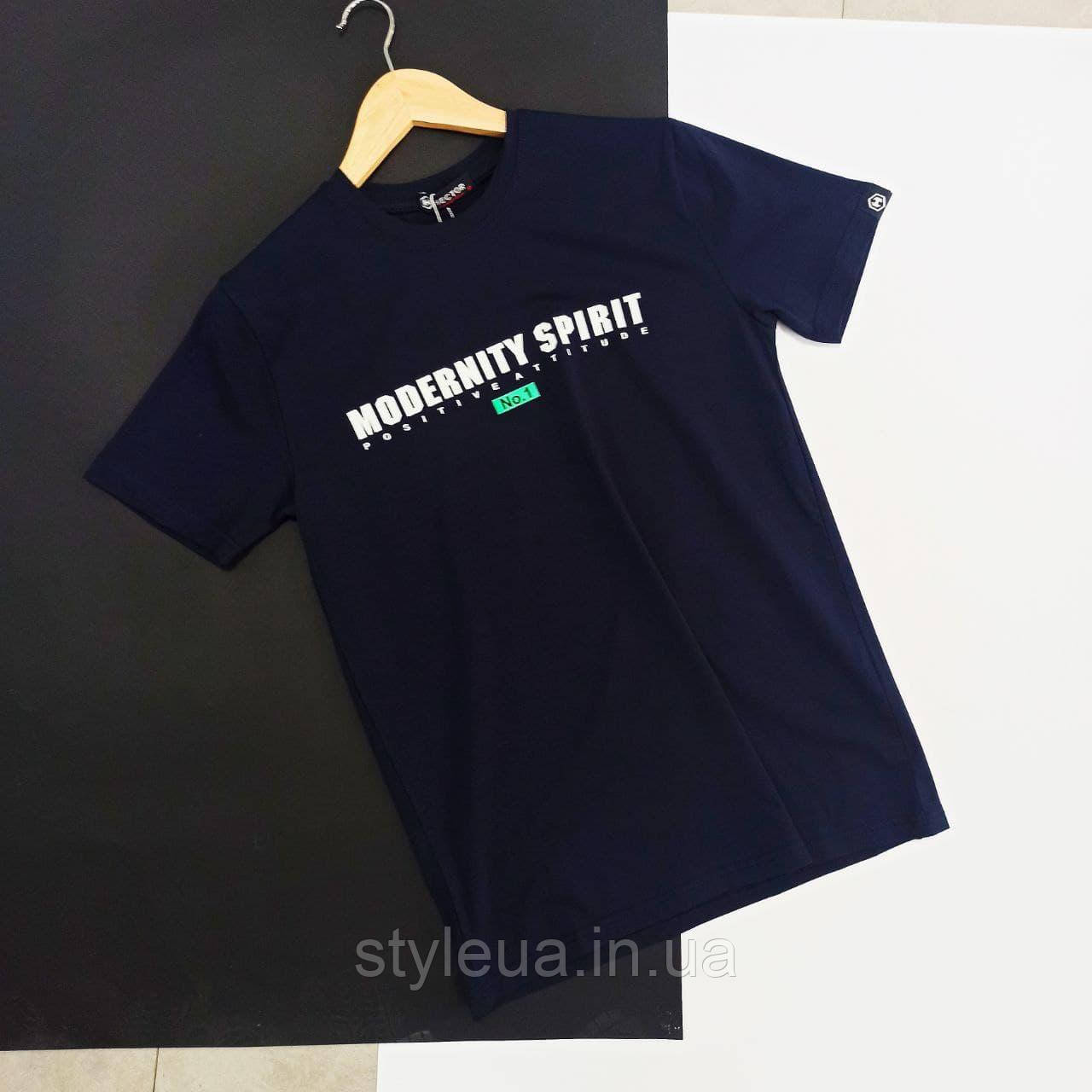 Чоловіча синя футболка з написами / Молодіжна чоловіча футболка з бавовни з принтом