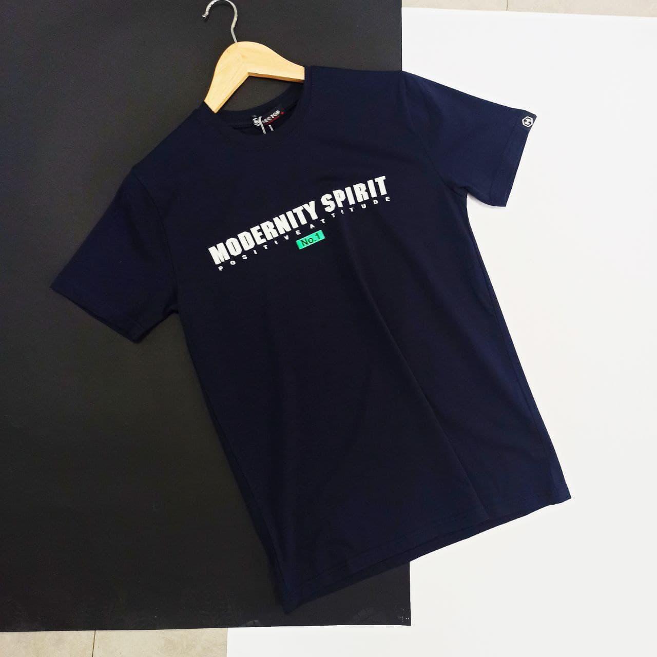 Мужская синяя футболка с надписями / Молодежная мужская футболка из хлопка с принтом