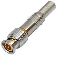 Штекер BNC, под кабель RG-11, RG-8, с пружиной, латунь (Тип 2)