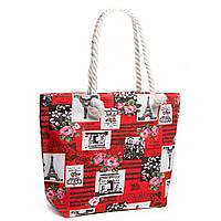 Женская сумка летняя текстильная красная