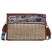 Женская бежевая сумочка, мини сумка из ткани, сумка летняя тренд 2021  СС-3652-16