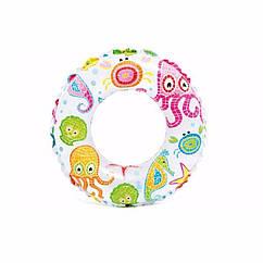 Дитячий надувний круг Intex 59241 (Осьминожки) Lively Print Swim Rings (61 см)