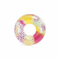 Intex надувний круг 58263 з ручками (Рожево-жовтий) Transparent Tubes (97 см)
