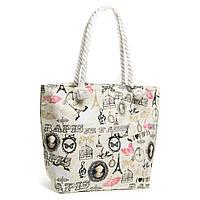 Модная женская пляжная сумка бежевая