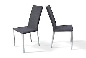 Стілець обідній м'який на металевих ніжках Соло Мікс меблі, колір білий + сіра тканина, фото 2