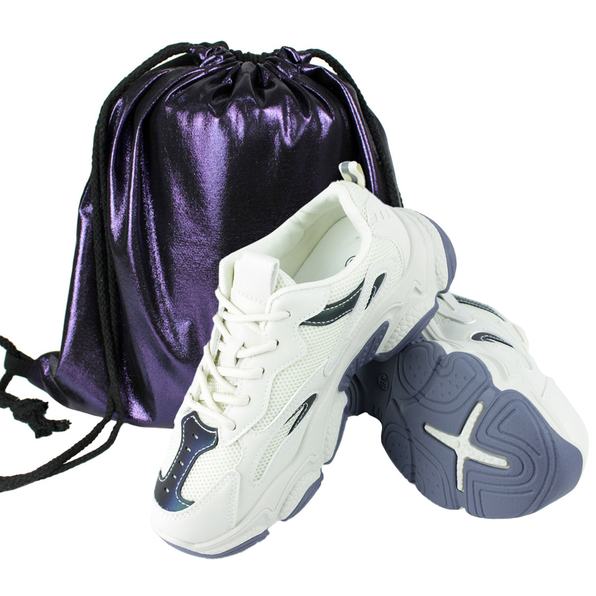 Кросівки жіночі для ходьби Artin 6602, Білі з рюкзаком-мішком