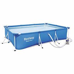 Прямоугольный каркасный бассейн Bestway 56411 (300 х 201 х 66 см) Steel Pro