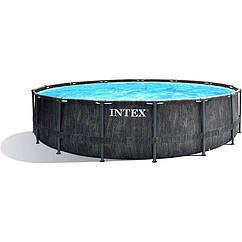 Круглий каркасний басейн Intex 26742 (457-122 см) GreyWood Prism Frame Pool