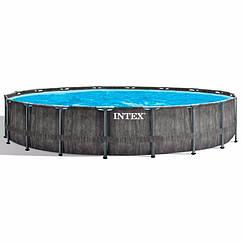 Круглий каркасний басейн Intex 26744 (549-122 см) GreyWood Prism Frame Pool