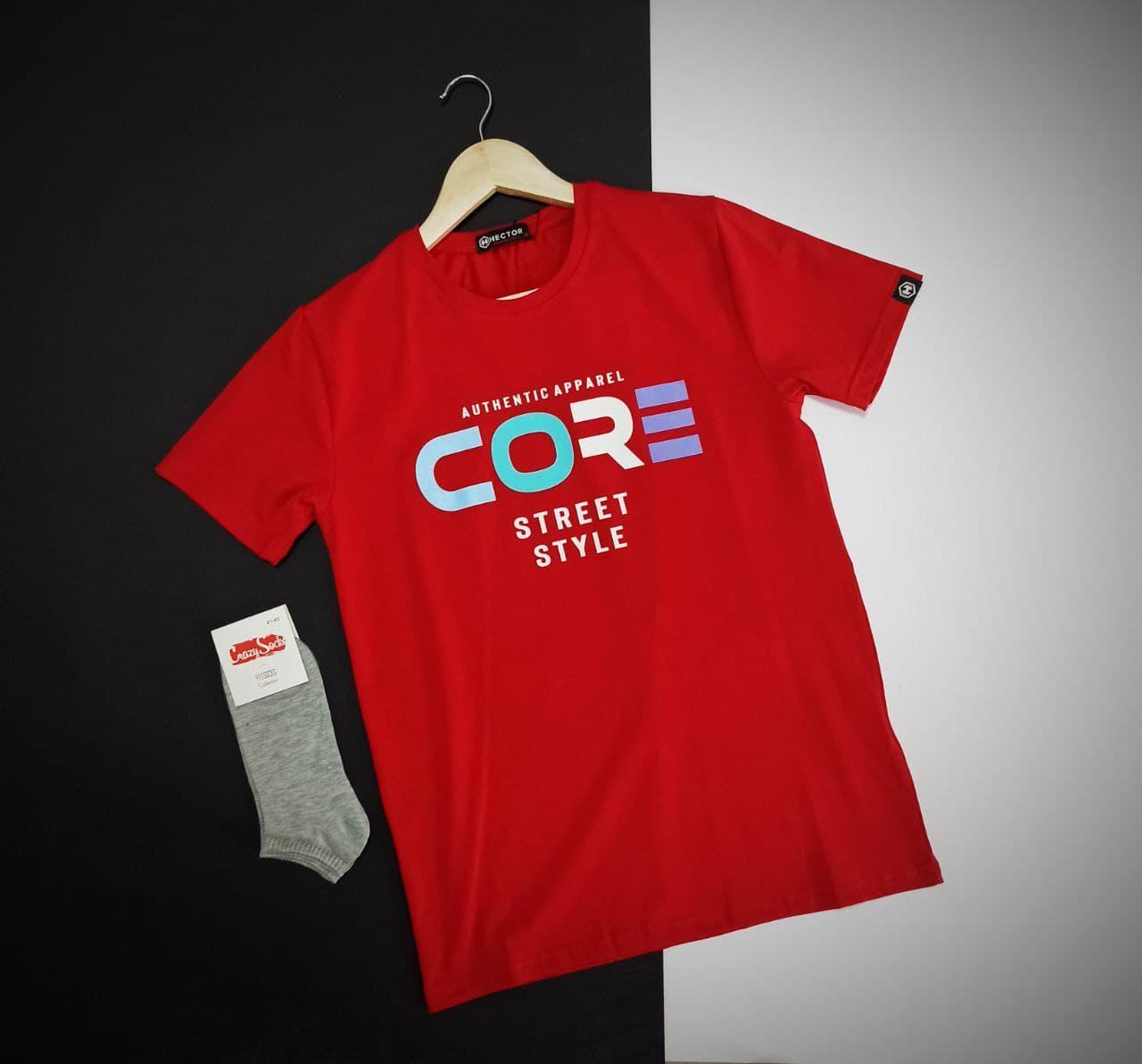 Мужская красная яркая футболка с надписью на каждый день / Турецкая хлопковая футболка с идеальной посадкой