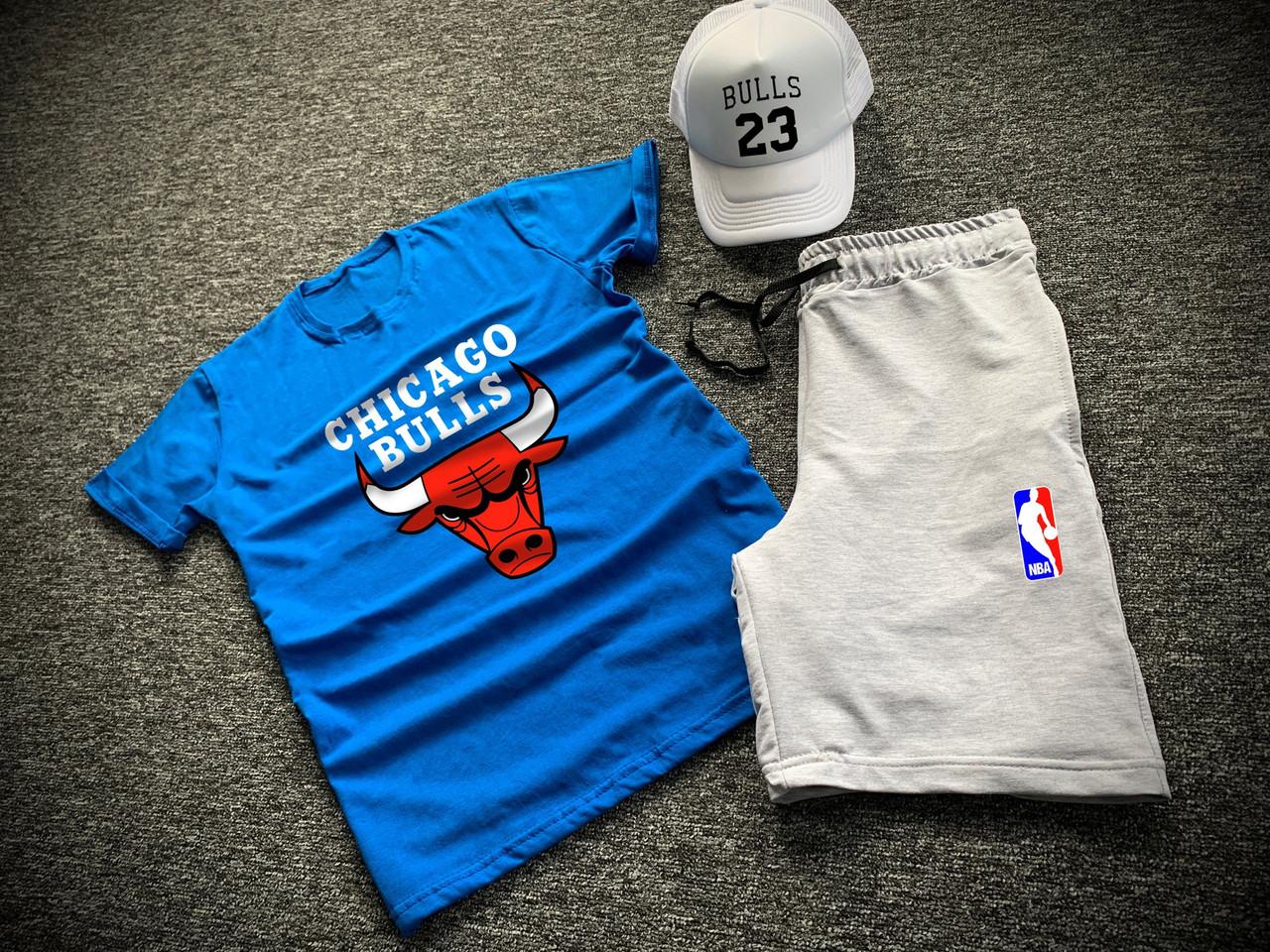 Комплект футболка шорти + бейсболка Chicago Bulls синій | Набір річний ЛЮКС якості